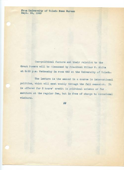 University of Toledo press releases, January 14 to December 13, 1949. Changes in UT and dissemination of diplomacy in  foreign relations.
