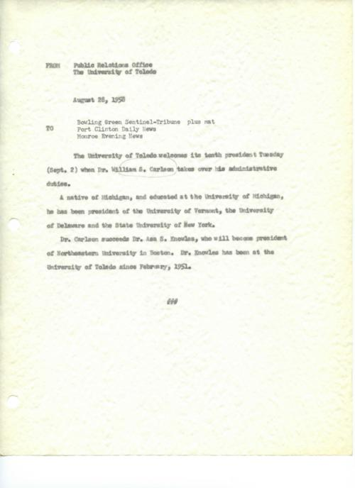 University of Toledo press releases, May 27 to December 23, 1958. Presidential inaugurations, Research Foundation, and academic updates