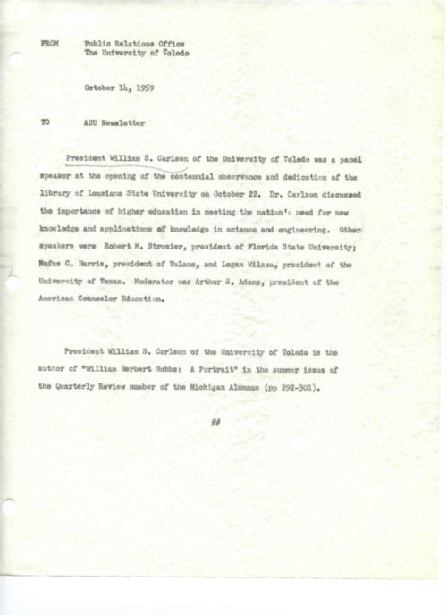 University of Toledo press releases, January 1 to December 22, 1959. Carlson unveils University's losing prominence in research, need state funding