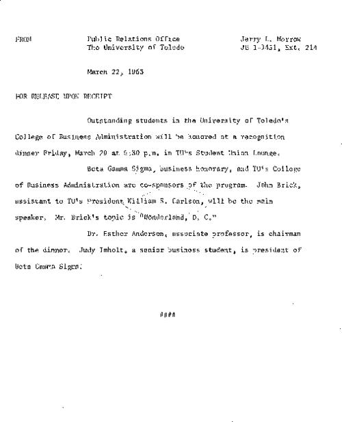 University of Toledo press releases, March 22 to December 16, 1963. Rise in student Involvement & State Issue Number 1