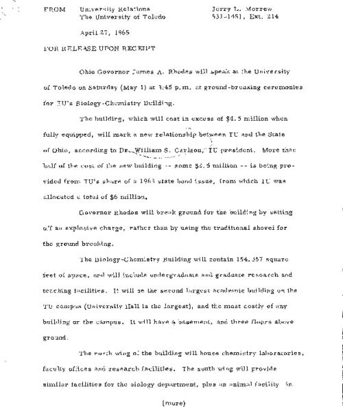University of Toledo press releases, January 26 to November 19, 1965. Investments in science and mathematics; talk transfer of UT from municipal to state control