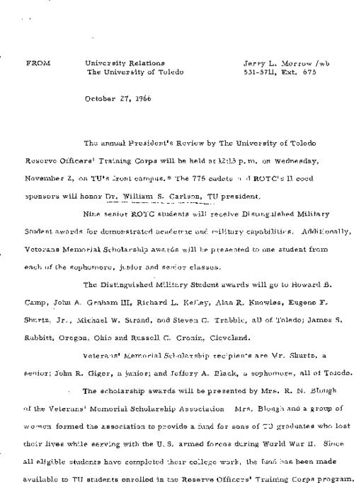 University of Toledo press releases, June 3 to December 19, 1966. TU becomes State University; Scott Park Campus unveiled; revamped graduate school