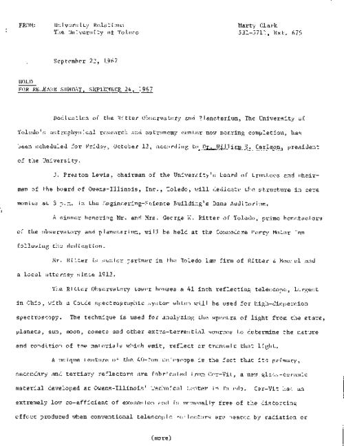 University of Toledo press releases, January 19 to December 13, 1967. Unrestricted funding for library project; Ritter Observatory nearing completion