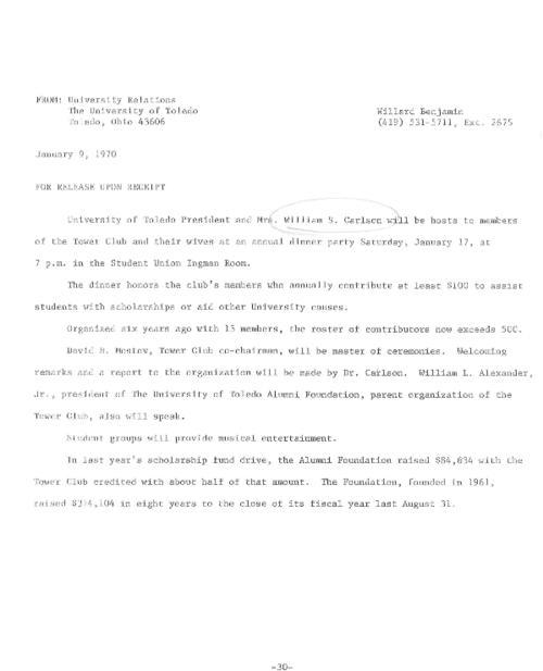 University of Toledo press releases, January 9 to December 11, 1970. Most costly single construction effort for UT library; Kelley's Island research for conservation project