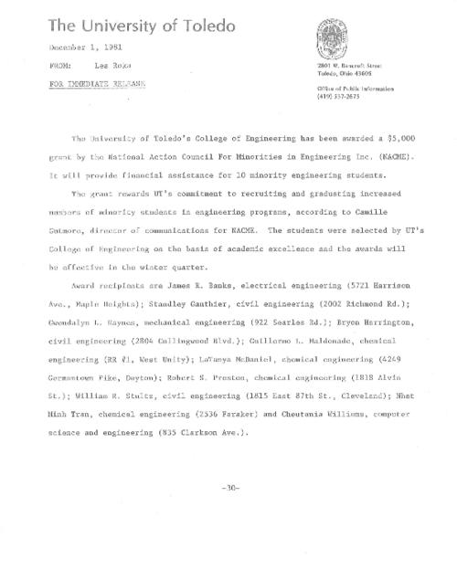 University of Toledo press releases, February 3 to December 1, 1981. Construction of a chemical storage facility in Bowman-Oddy Laboratories.