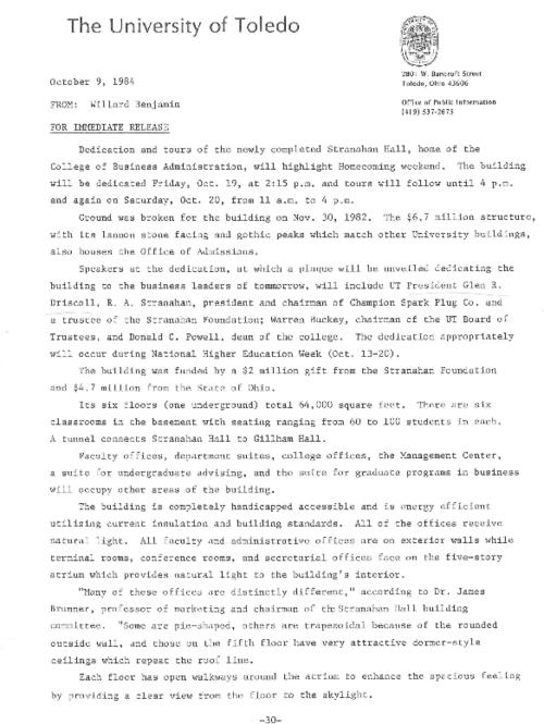 "University of Toledo press releases, January 9 to November 6, 1984. UT exercises role as corporate citizen with downtown events; ""We hope to exploit the laboratory around us"", growth  in corporate power"