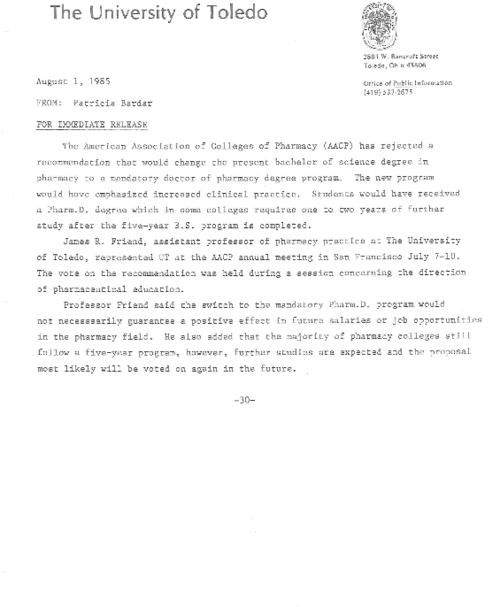 "University of Toledo press releases, February 12 to September 9, 1985. UT's BoT authorized  ""Committee of One Hundred""  to explain the needs of higher education to public & financial support for such goals."