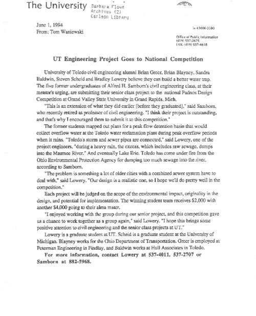 University of Toledo press releases, January 3 to December 27, 1994. Record breaking frequency in financial related news for corporate university.