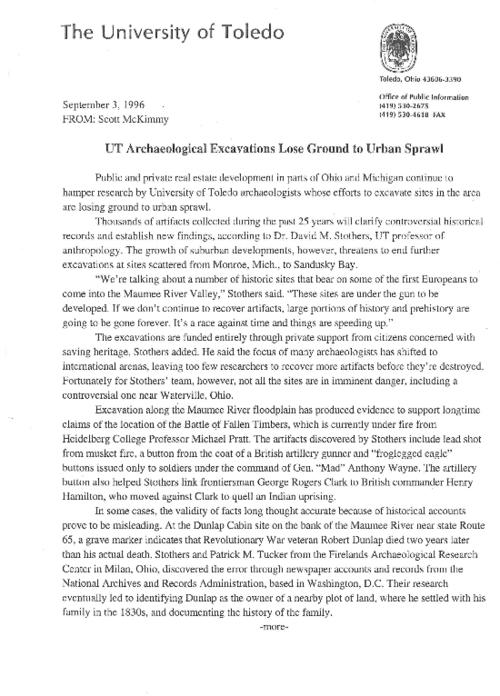 University of Toledo press releases, January 2 to December 17, 1996. Emphasis on 'computer geek' and business skills, First talk of the Cold War, Establishment of Bioengineering