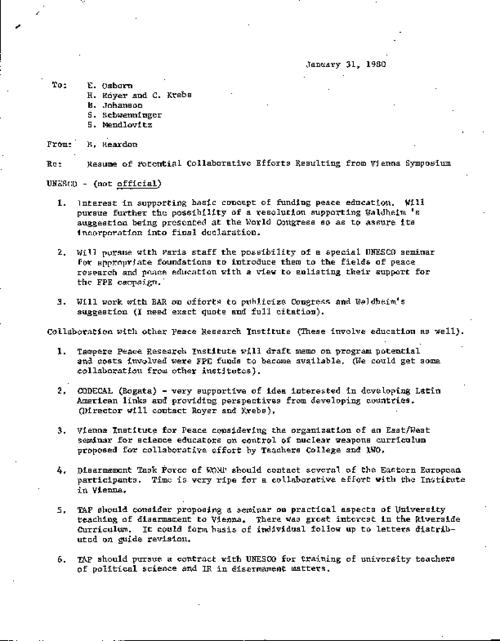 A memo by Reardon to five individuals