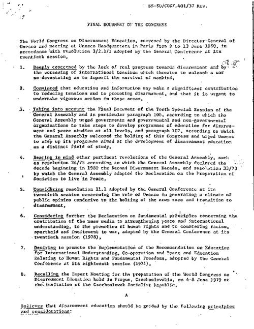 Summary of the World Congress of Disarmament Education held in Paris in June 1980
