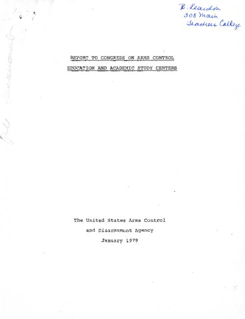 A report of the United States Arms Control and Disarmament Agency, January 1979