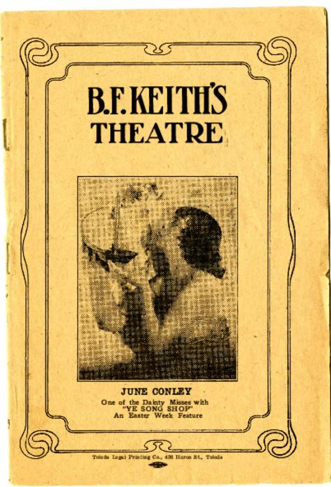 B. F. Keith Theatre pamphlet with advertisements of local businesses and events