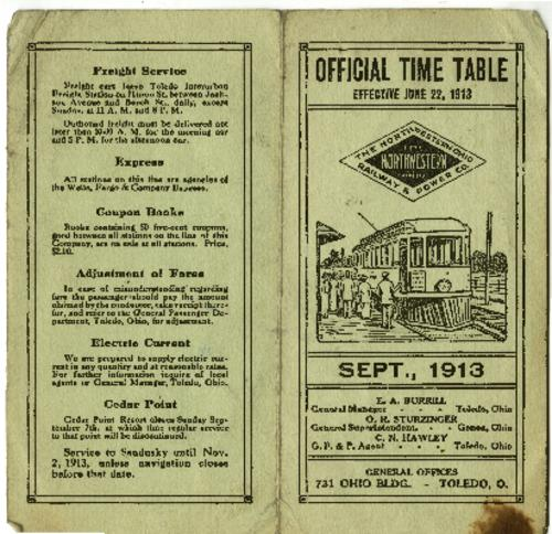The foldable time table for the Northwestern Ohio Railway & Power Co. street car service, effective June 22, 1913