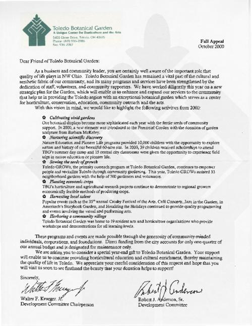 A letter from the Toledo Botanical Gardens Development Commitment to supporters, asking for year-end gift, dated October 2000