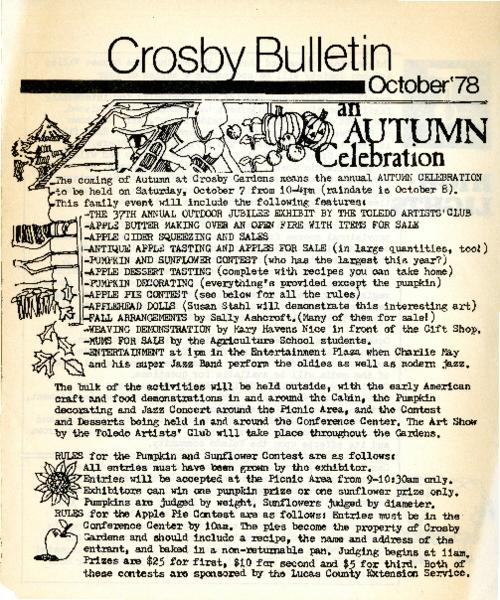 A newsletter by the Crosby Gardens.  This issue announces the Autumn at Crosby Gardens annual autumn celebration.
