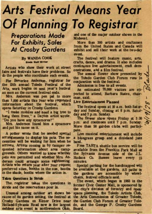 Article in The Blade, June 19, 1978