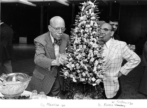 the tree of cheese at the 1976 Tower Club Dinner, with Dr. Maurice ('29) and Dr. Francis W. Epstein ('30)