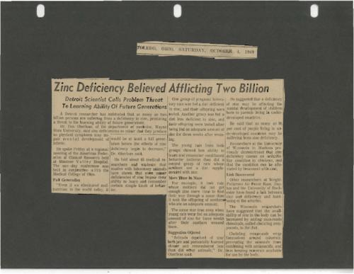 Newspaper article concerning a doctor's estimate that two billion people are zinc deficient.